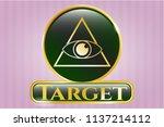 shiny badge with illuminati... | Shutterstock .eps vector #1137214112