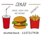 burger  french fries in a box... | Shutterstock .eps vector #1137217928