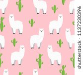 cute lama  doodle vector... | Shutterstock .eps vector #1137230396