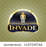 gold badge or emblem with... | Shutterstock .eps vector #1137235766
