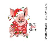 pig in a striped cardigan  in a ... | Shutterstock .eps vector #1137248378