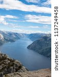 scenic view from preikestolen... | Shutterstock . vector #1137249458