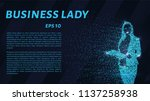 business woman of the particles.... | Shutterstock .eps vector #1137258938