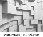 abstract white cubes wall...   Shutterstock . vector #1137261935