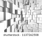 abstract white cubes wall...   Shutterstock . vector #1137262508