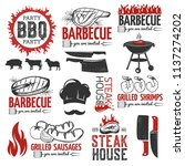 bbq  grill elements collection... | Shutterstock .eps vector #1137274202
