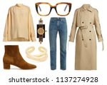 collage of women's clothes on a ... | Shutterstock . vector #1137274928