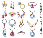 necklace jewelry chain icons... | Shutterstock .eps vector #1137282032