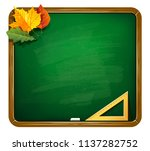 green chalkboard with autumn... | Shutterstock .eps vector #1137282752