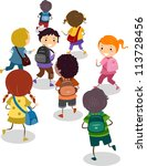 illustration of school kids on...   Shutterstock .eps vector #113728456