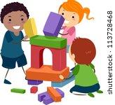 illustration of stick kids... | Shutterstock .eps vector #113728468