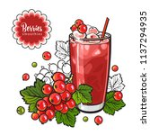 red currant smoothie in sketch... | Shutterstock .eps vector #1137294935