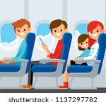 airplane passengers on their... | Shutterstock .eps vector #1137297782