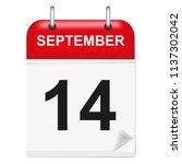 daily calendar of single leaf... | Shutterstock .eps vector #1137302042