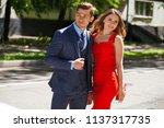 young couple or european woman... | Shutterstock . vector #1137317735