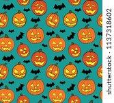 halloween seamless vector... | Shutterstock .eps vector #1137318602