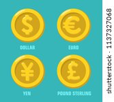 vector icon set of gold coins... | Shutterstock .eps vector #1137327068