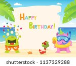 summer birthday card with... | Shutterstock .eps vector #1137329288
