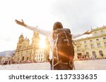 exited backpacker with rised... | Shutterstock . vector #1137333635