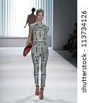 NEW YORK - SEPTEMBER 12: Model walks the runway for Milly Collection by Michelle Smith during Spring/Summer 2013 at Mercedes-Benz Fashion Week on September 12, 2012 in New York - stock photo
