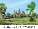 ancient temple angkor wat from... | Shutterstock . vector #1137342035