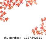 maple leaves watercolor... | Shutterstock . vector #1137342812
