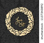 vintage card with golden round... | Shutterstock .eps vector #1137343892