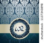 vintage card with  blue round... | Shutterstock .eps vector #1137343898