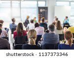 round table discussion at... | Shutterstock . vector #1137373346