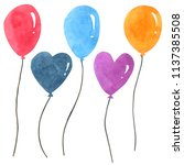 balloon set  watercolor... | Shutterstock . vector #1137385508