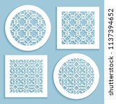 templates for laser cutting ... | Shutterstock .eps vector #1137394652