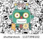 vector of funny robot head... | Shutterstock .eps vector #1137398102