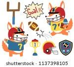 vector set of animals rugby... | Shutterstock .eps vector #1137398105