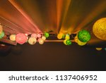 colorful cotton ball lights... | Shutterstock . vector #1137406952