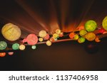 colorful cotton ball lights... | Shutterstock . vector #1137406958