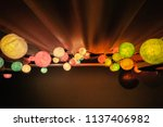 colorful cotton ball lights... | Shutterstock . vector #1137406982