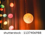 colorful cotton ball lights... | Shutterstock . vector #1137406988