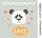 a cute panda face. vector... | Shutterstock .eps vector #1137410882