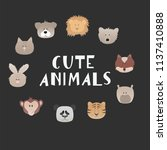 set of cartoon funny animals... | Shutterstock .eps vector #1137410888