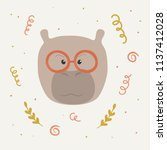 a cute hippo face with... | Shutterstock .eps vector #1137412028
