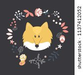 a cute fox face isolated in... | Shutterstock .eps vector #1137412052