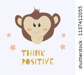 a cute monkey face and phrase   ... | Shutterstock .eps vector #1137412055