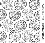 seamless pattern with tomatoes... | Shutterstock .eps vector #1137414392