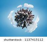 miniature city planet on blue... | Shutterstock . vector #1137415112