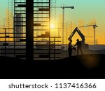 silhouette of engineer and... | Shutterstock .eps vector #1137416366