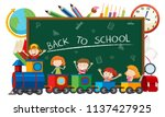 back to school on blacboard... | Shutterstock .eps vector #1137427925