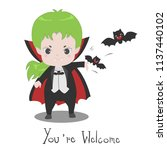 cute vampire dracula cartoon.... | Shutterstock .eps vector #1137440102