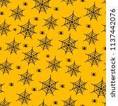halloween seamless pattern with ... | Shutterstock .eps vector #1137442076