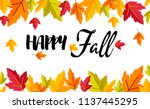 autumn poster background with... | Shutterstock .eps vector #1137445295