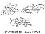 happy birthday calligraphic... | Shutterstock . vector #113744935